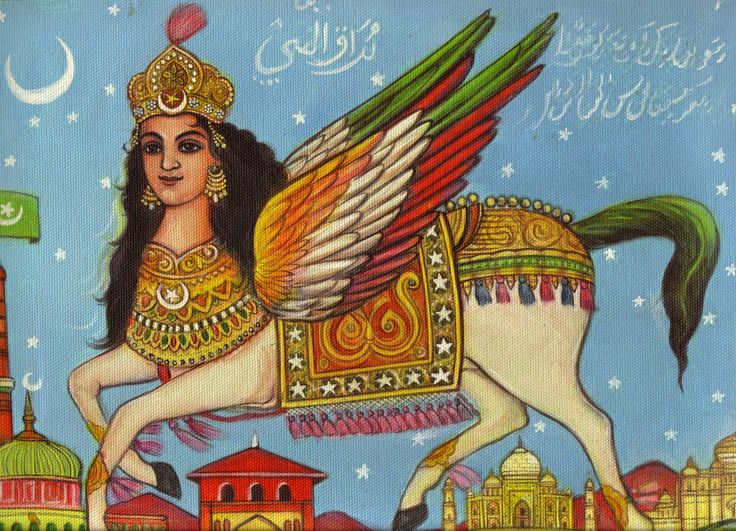 (religious - p.mc.n.) mythological beasts images   An illustration of a Buraq. A Buraq is a mythological steed, described ...