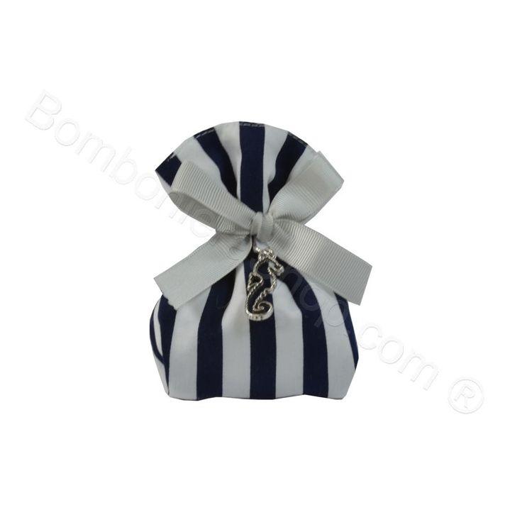 Cubo piccolo Preston Blu e bianco con ciondolo Cavalluccio Marino in metallo argentato