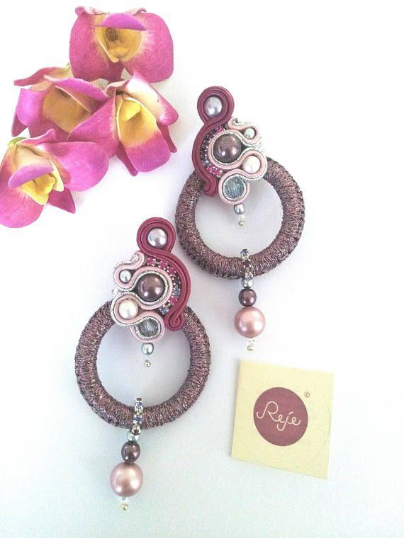 Soutache earrings, statement earrings, soutache jewelry, birthday gift, plum, OOAK, wholesale jewelry, handmade, hoop earrings, crystals