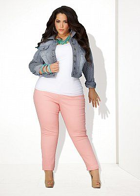 Fat Tuesday Fashion Pick: Love the color combination as well as the short jacket and skinny jeans.