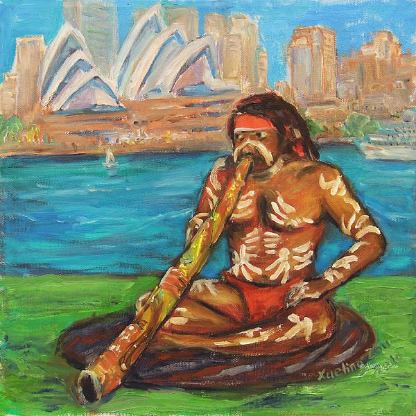 'Aussie Dream I' ©Xueling Zou;  gift, greeting cards, posters, prints, fine art, original art, corporate art, home decor, wall image, wallpaper, $6.00, for sale, didgeridoo, dream, dreaming, the aboriginal art, aborigines, aussie, Sydney, australia, australian aborigine,