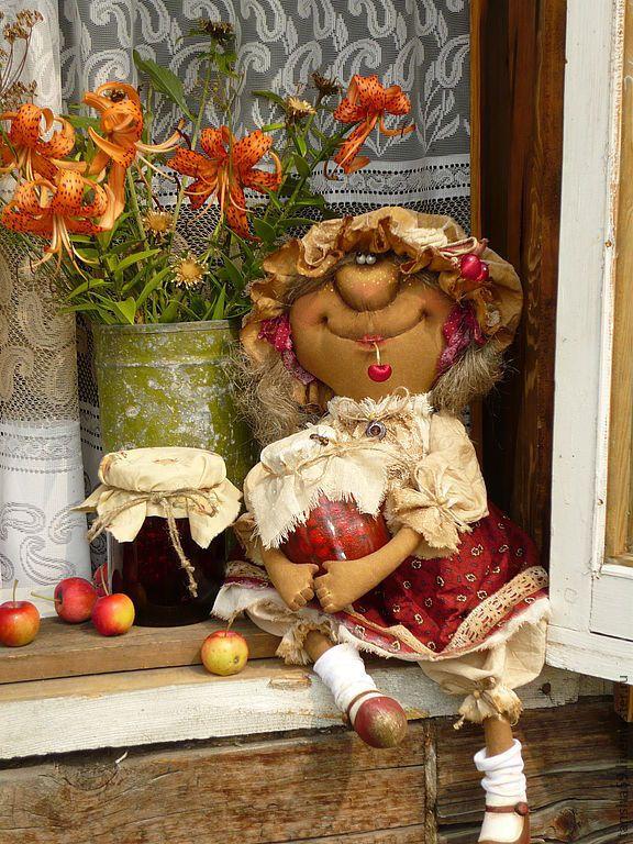 Купить Вишневывае варенье - примитивная кукла, примитивы, ароматизированная кукла, текстильные примитивы, текстильная кукла
