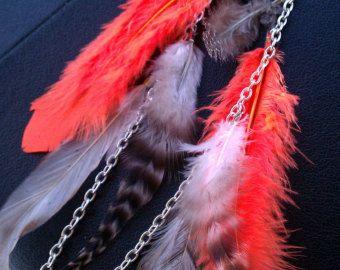 Afrikaanse sieraden, Feather Oorbellen, Neon Oranje, Veer Earlace, Stammen Sieraden, sieraden Veer, Neon, zilveren oorbellen, Zomer sieraden