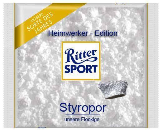 RITTER SPORT Fake Schokolade Styropor