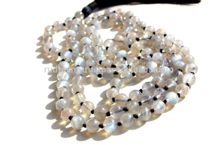 Natural Labradorite Mala Beads Long necklace, Gemstone Tassel Boho Mala Necklace