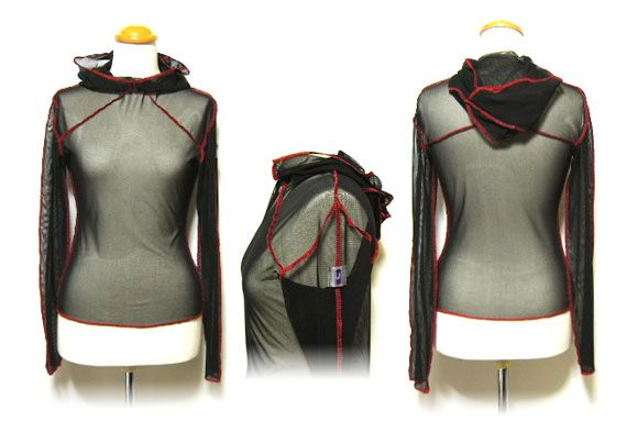 Black/ red mesh hooded top with original microchip style logo on arm.
