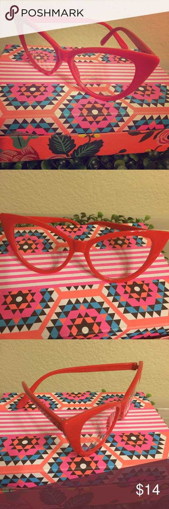 Clear lens red frame cateye glasses Clear lens with all red frame cat eye glasses! Perfect accessory to spice up your look! Retro vintage sexy style! New, unworn boutique item. Do not come with or include a case  ✨bundle with other listings to save✨ boutique Accessories Glasses