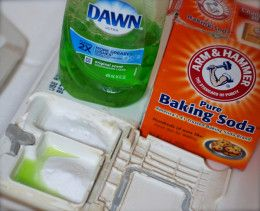 Dishwasher detergent hack - In the little well where you usually put your dishwasher detergent/tab, pour:   2 Tablespoons baking soda  1 teaspoon liquid dish soap (such as Dawn)  Run dishwasher as you normally would. - no washing soda needed