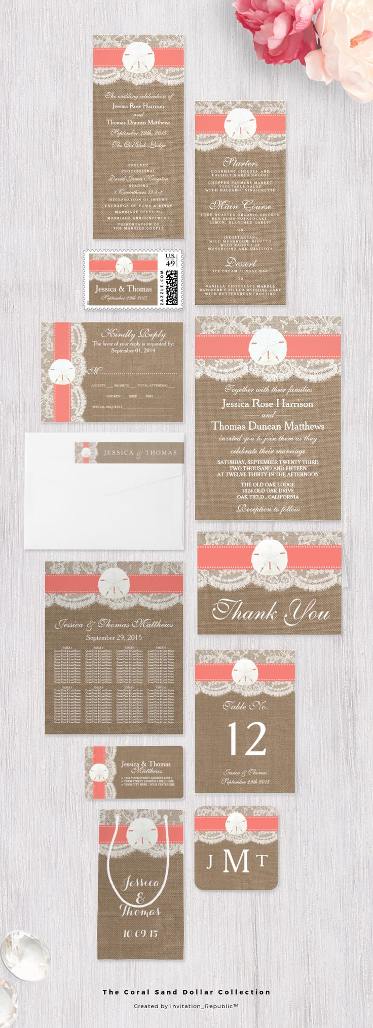 Coral Sand Dollar Beach Wedding Invitation Set Collection   Rustic Lace and Burlap