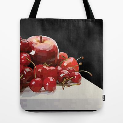 """""""Eat More Fruit"""" Tote Bag  Our quality crafted Tote Bags are hand sewn in America using durable, yet lightweight, poly poplin fabric. All seams and stress points are double stitched for durability. They are washable, feature original artwork on both sides and a sturdy 1"""" wide cotton webbing strap for comfortably carrying over your shoulder."""