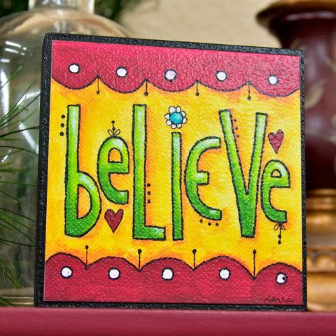 Believe art block inspirational stackable wall for Decoration 4x4