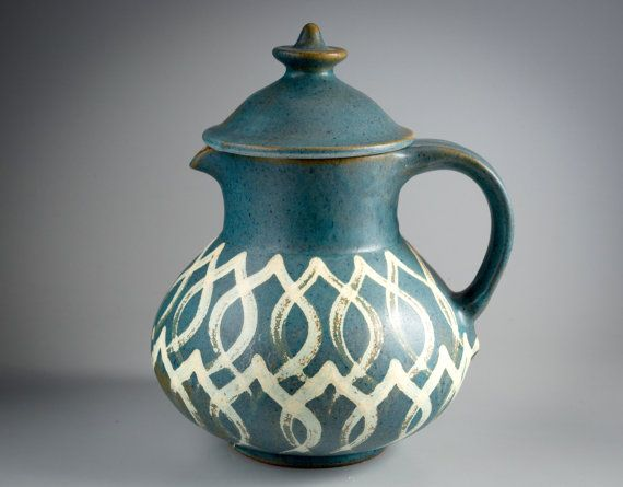 Dybdahl Denmark A Big Pot with Lid blue and creme colors
