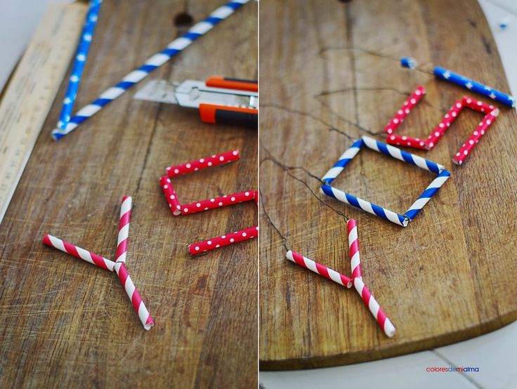 paper straws crafts  letters