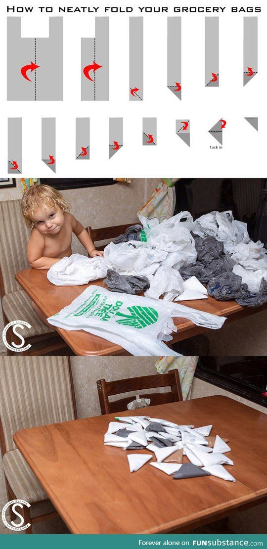 How to fold a grocery bag so you don't just have a massive bag of other bags.  This way, it's easier to keep a couple in your purse, diaper bag, glove compartment, etc.