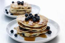 Low fat Pancakes I substituted olive oil for canola oil and added a couple of shakes of nutmeg.