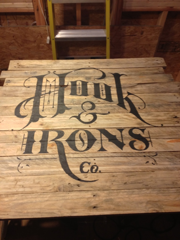 Hook And Irons Logo On Pallet Wood Love This Type Pallet