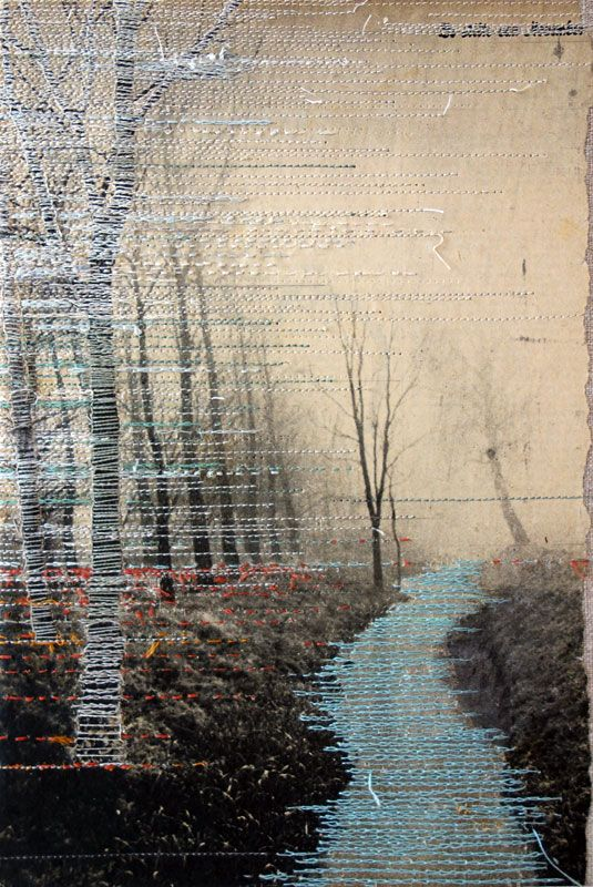 hinke schreuders - views on paper #2 · 2014 · embroidery on paper on linen · 25,5 × 17,5 × 5,5 cm