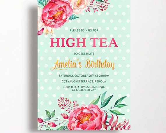 13 best Tea Party invitation inspiration\/templates images on - tea party invitation