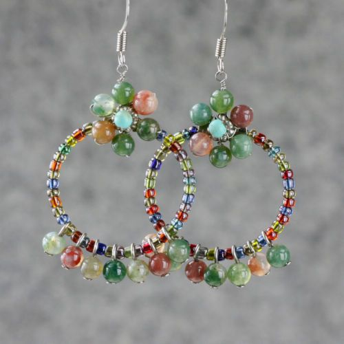 Stone Flower Dangling Hoop Earrings Handmade Free USA Shipping Anni Designs   eBay
