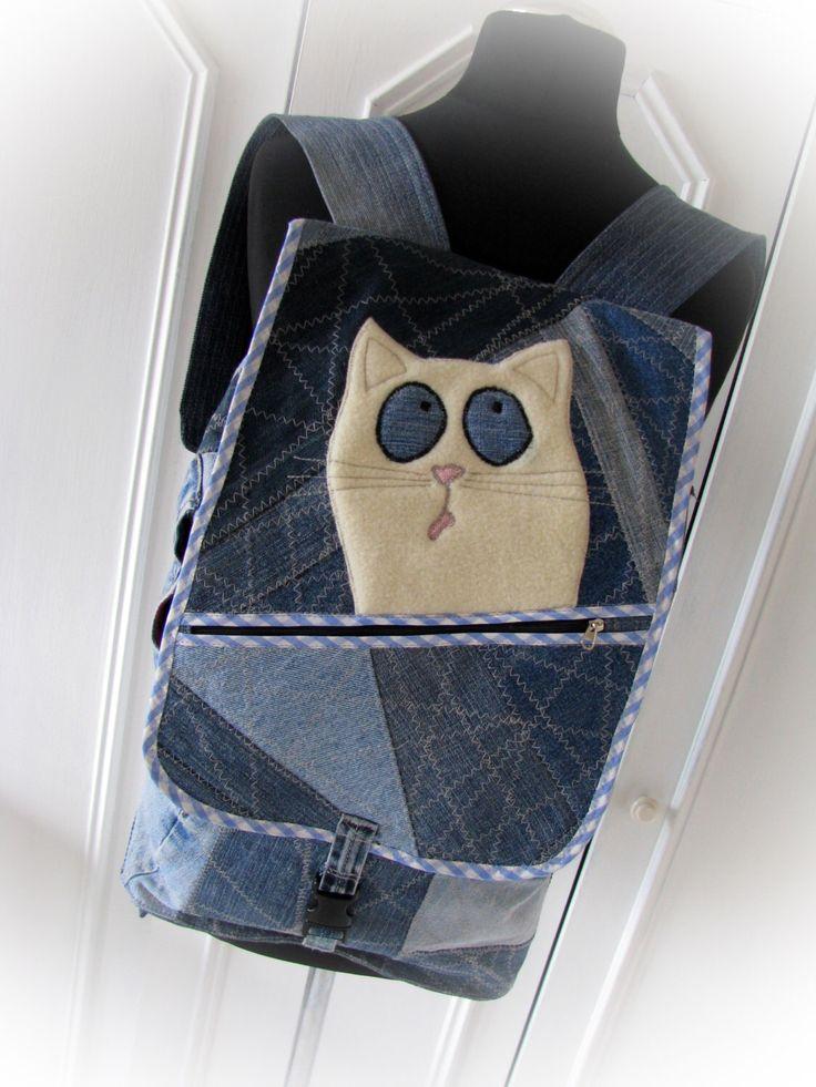 jean backpack, denim backpack,reused denim  ,recycled jeans,rucksack,jeans backpack by klaptykart on Etsy https://www.etsy.com/listing/280129298/jean-backpack-denim-backpackreused-denim