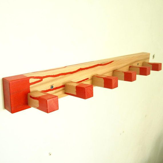 Wood coat rack  red by MustHaveRo on Etsy