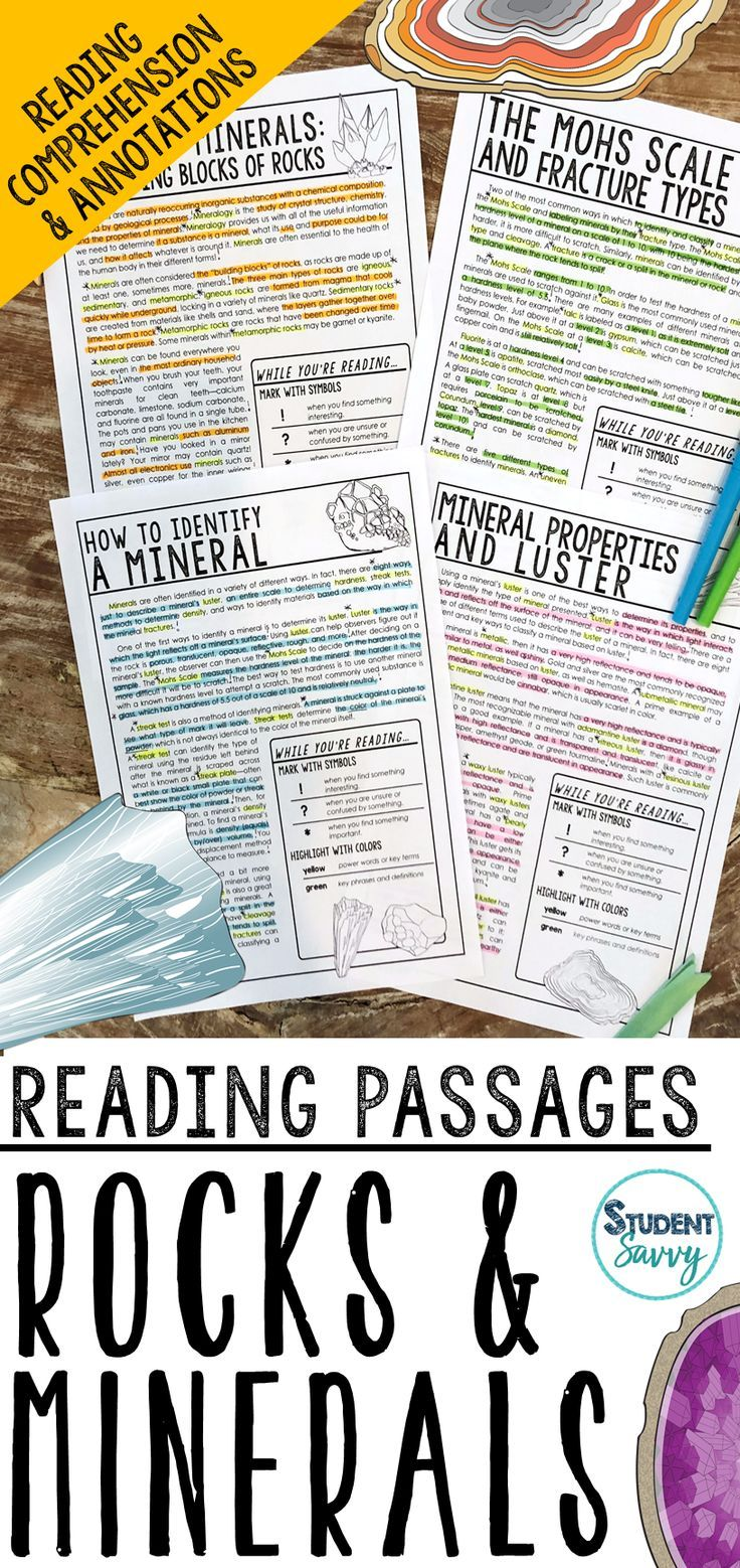 Rocks And Minerals Reading Passages Questions Annotations Reading Passages Science Reading Passages Reading Comprehension Passages