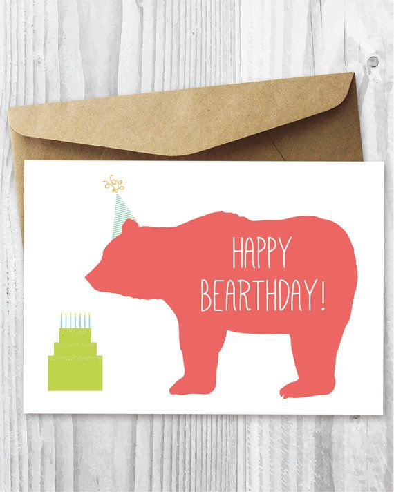 Happy Birthday Card, Kids Birthday Card Printable, Happy Bearthday, DIY Birthday Card, Bear Birthday Card, Greeting Card Digital Download