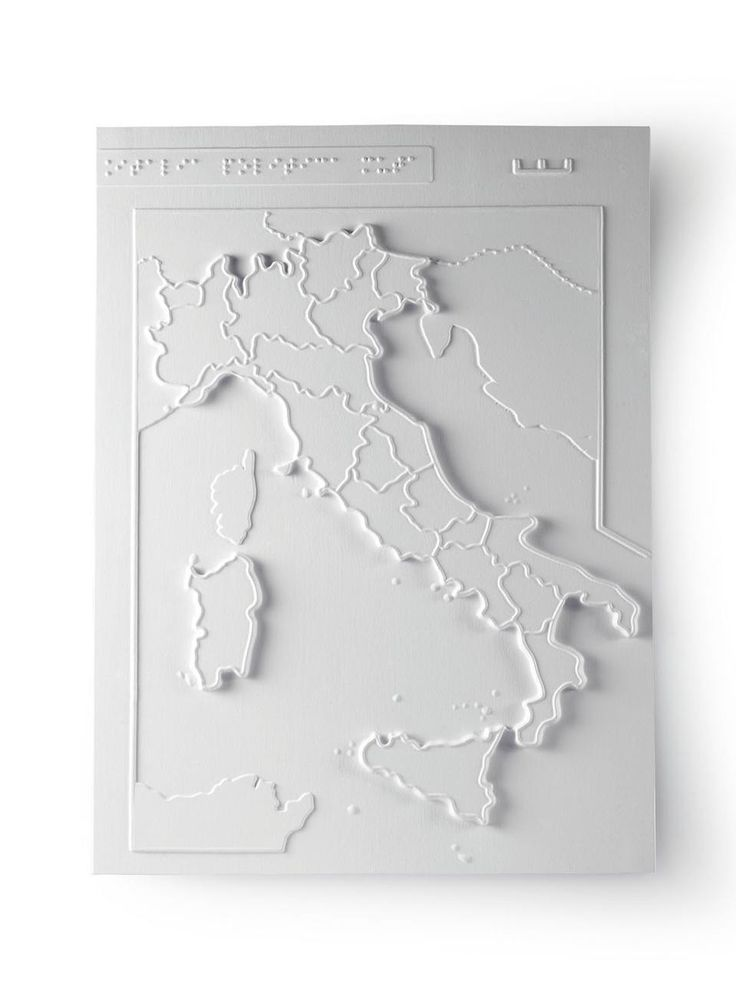 "A map of Italy with the regions  labelled. All the Institute's  materials are accompanied with  descriptions and teaching notes;  these are collected in the book  and CD <i>Tocca e Impara</i> (""Touch  and Learn"")"