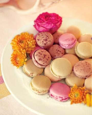 Colorful macarons brighten up a dessert buffet