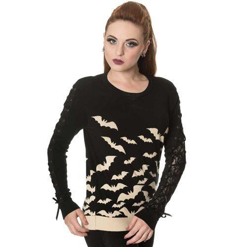 Haunted Diva gebreide dames trui met vleermuizen patroon en lint detail zwart/crème - Gothic Emo Halloween - S - Banned