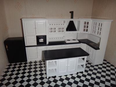 1:12娃娃屋dollhouse模型diy迷你食玩场景 整体黑白环岛厨房套装-淘宝网