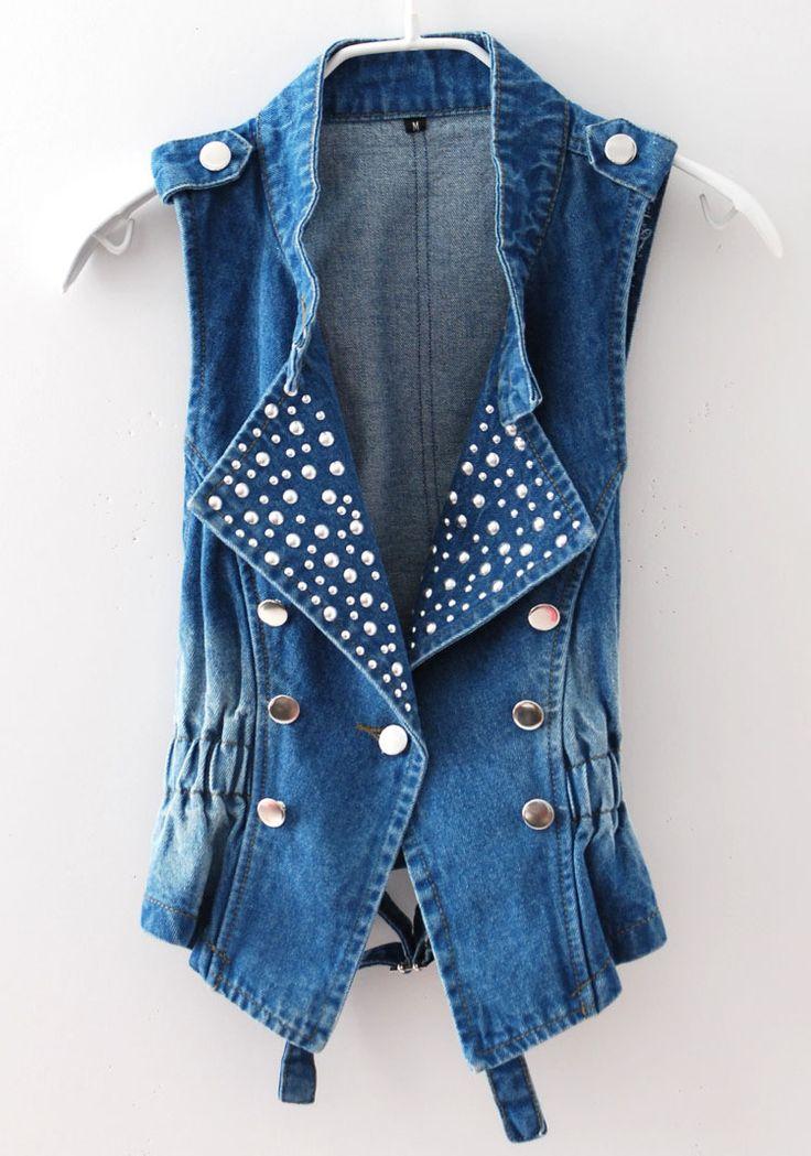 Women Fashion Denim Sleeveless Jacket