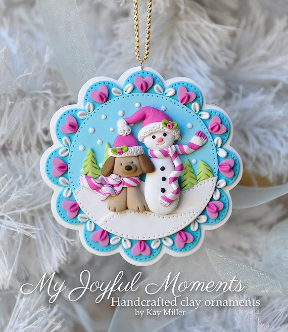 Handcrafted Polymer Clay Winter Snowman With by MyJoyfulMoments