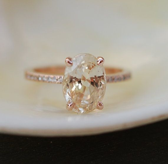 coming soon Peach Champagne Sapphire Engagement Ring. Oval