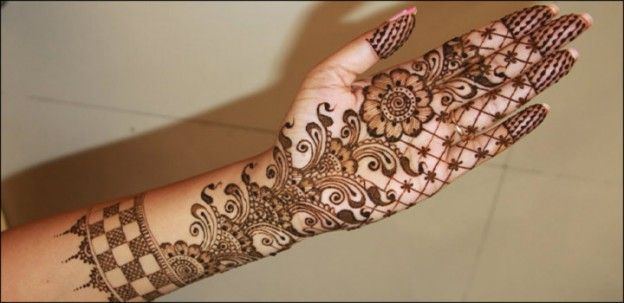 Latest Mehndi Designs - Popular Extended Floral Branch Pattern