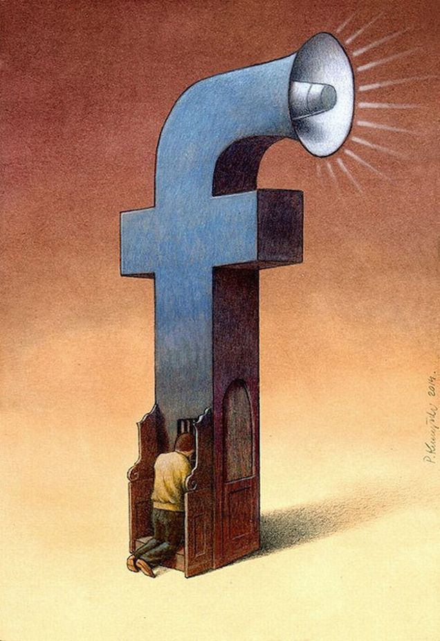 These illustrations by Pawel Kuczynski perfectly make fun of our obsession with Facebook