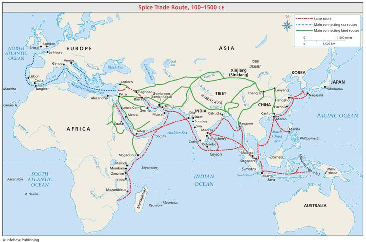 Spice Trade Routes | the Spice Trade Route (100-1500 CE). It is shown that the Spice Trade ...