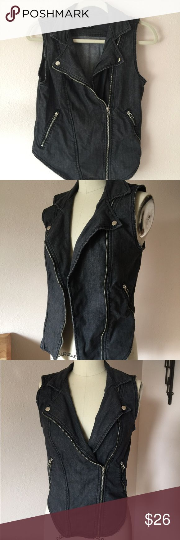 Urban Outfitters Kill City Grey Denim Moto Vest Kill City Urban Outfitters moto biker vest in dark grey Denim. Size XS. Button and zip closure. Super cute modern fit. Excellent pre-owned condition. Urban Outfitters Jackets & Coats Vests