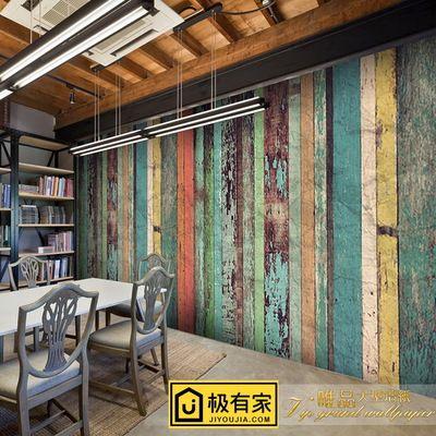 7080年代复古怀旧彩色木板大型壁画咖啡店奶茶店休闲吧KTV墙壁纸-淘宝网