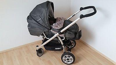 Kinderwagen Gesslein F4, grau mit Blütensparen25.info , sparen25.com