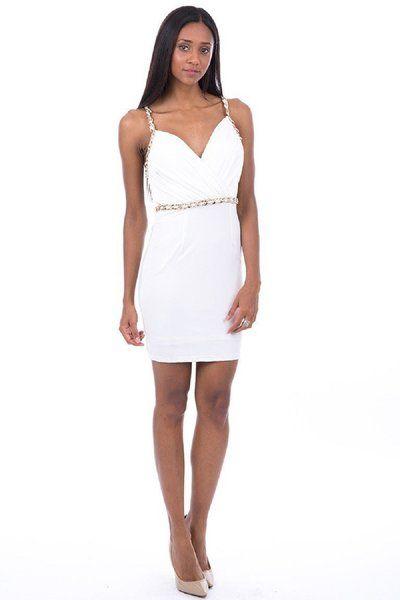 Cream Halter Neck Dress With Chain Detail �24.99