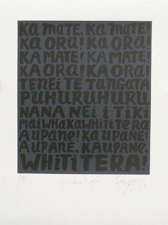 Haka lyric (Ka mate, ka mate!) by Dick Frizzell