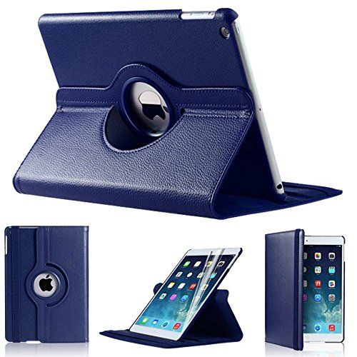 awesome Dark Blue PU Leather Plain 360 Degrees Rotating Case Cover Stand For Apple iPad Air 2
