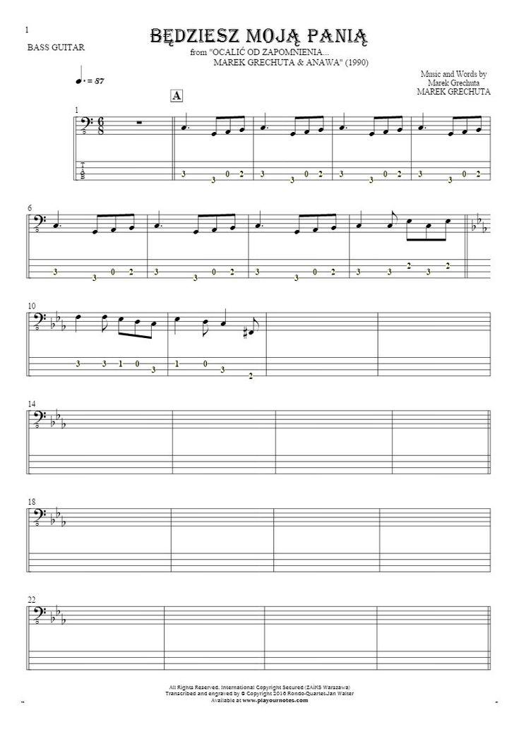 Będziesz moją panią sheet music by Marek Grechuta. From album Ocalić od zapomnienia... Marek Grechuta & Anawa (1990). Part: Notes and tablature for bass guitar.