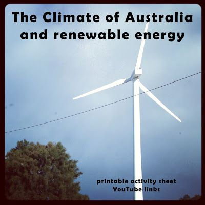The Climate of Australia and Renewable Energy - printable worksheets