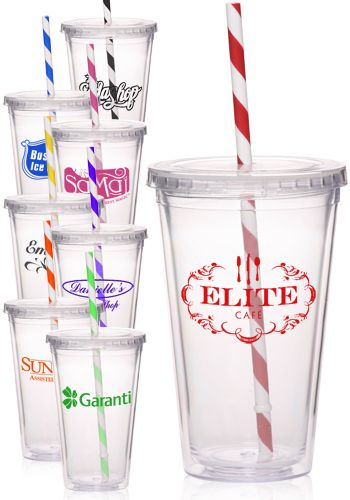 16 oz. Personalized Tumblers with Striped Straws –Acrylic Tumblers - $3.53 (50), $3.53.ez x 50 qty + set up fee $50 = $226.50 + tax - free shipping