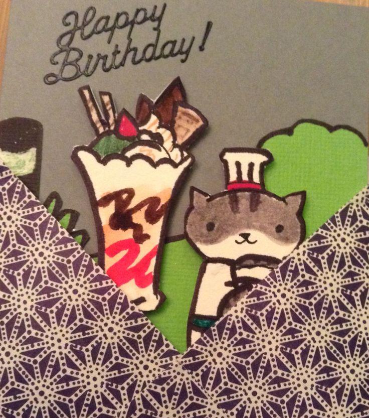 Neko atsume bistro cat anmitsu sundae birthday chiyogami paper collage sharpie and deserres duo-tip markers. Elizabeth Craft vinyl stickers