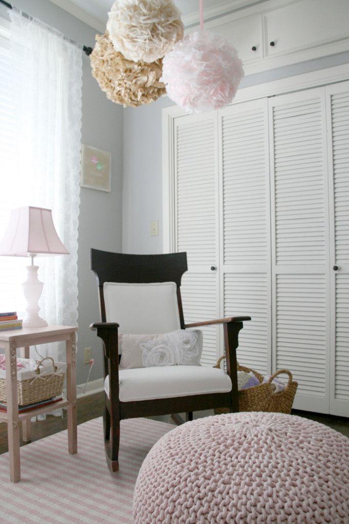 Sweet, soft baby girl nursery: Rocks Chairs, Closet Doors, Baby Spaces, Pastel Nurseries, Ava Rooms, Rooms Ideas, Baby Rooms, Aubrey Rooms, Baby Girls Nurseries