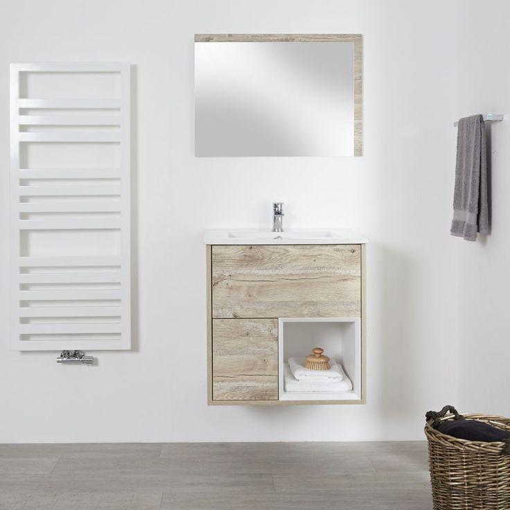 Milano Bexley Light Oak 600mm Wall Hung Open Shelf Vanity Unit