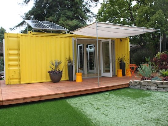 """Sunset Magazine's 2011 """"Idea House"""" constructed from a former shipping container and outfitted with solar panels, propane, a deck, and more."""
